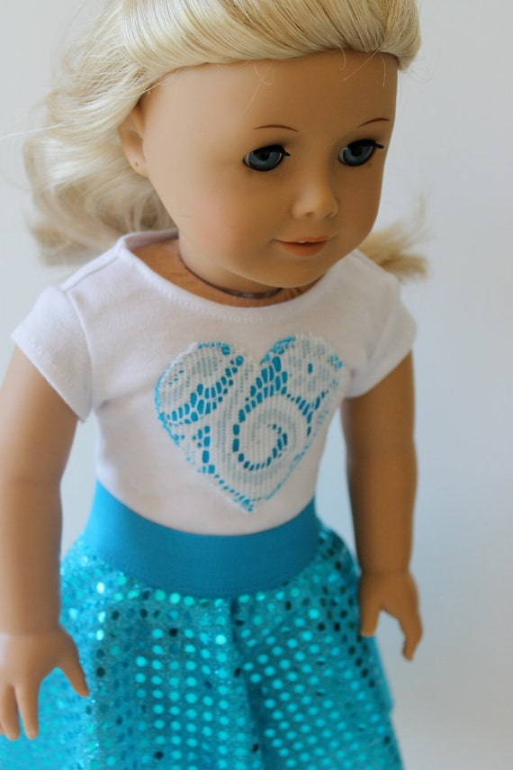 Sparkles and Lace Outfit in Teal for American Girl or Other 18 Inch Dolls