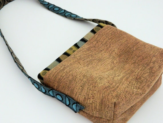 Small handbag pouch earthy cork fabric for out walkin' the dog