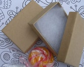 25 Kraft Boxes (3 1/16 x 2 1/8 x 1 inch) Fiber filled Earring / Pendant Boxes