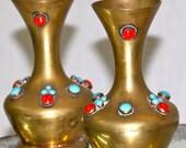 Pair of Vintage Brass Jeweled Vases