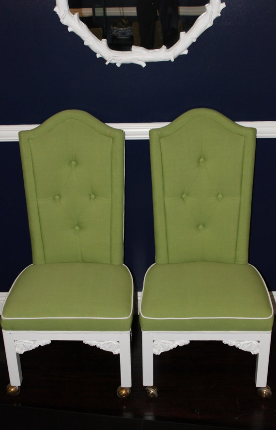 Tufted Hollywood Regency Chinoiserie Chairs - Pair