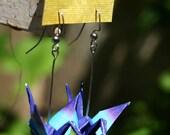 Striped Origami Crane Earrings