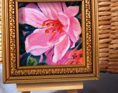 Pink Azalea - original acrylic on framed mini-canvas