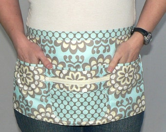 Lotsa Pockets Apron, Vendor Apron with zipper pocket, Teacher/ Waitress/ New Mommy Apron -Amy Butler Wall Flower Sky, made-to-order 2 sizes