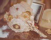 Heirloom Collection- Vintage Brooch and Silk Flower Bouquet