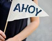Sentiment Flags - Wedding - Reclaimed Sail Cloth, Burlap, Cotton - Yay, Ahoy