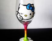 peace love and Hello Kitty - Wine Glass - Hand painted - rainbow stem