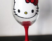 Hello Kitty - Wine Glass - Hand painted - red stem - red bow - 20 oz large glass