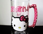 personalized - Hello Kitty - Beer mug - hott Pink handle with white polka dots
