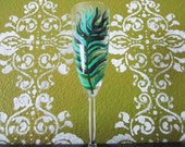 Peacock Champagne Glass - hand painted -  Weddings - bridesmaids - toasting flutes