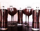 Audrey Bridal Party Collection - 7 glasses - wedding glassware - brown and white - 4 bridesmaid glasses 3 groomsmen glasses