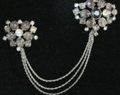 Vintage Kramer of New York Double Brooch set with 3 Chain Attachment