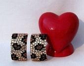 Vintage Leopard Rhinestone Earrings - Grrrr..........