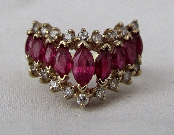 Appraised Vintage Ruby and Diamond V Shape Cocktail Ring - 14K Yellow Gold - 9 Natural Rubies - 18 Full Cut Diamonds - Appraiser Certified