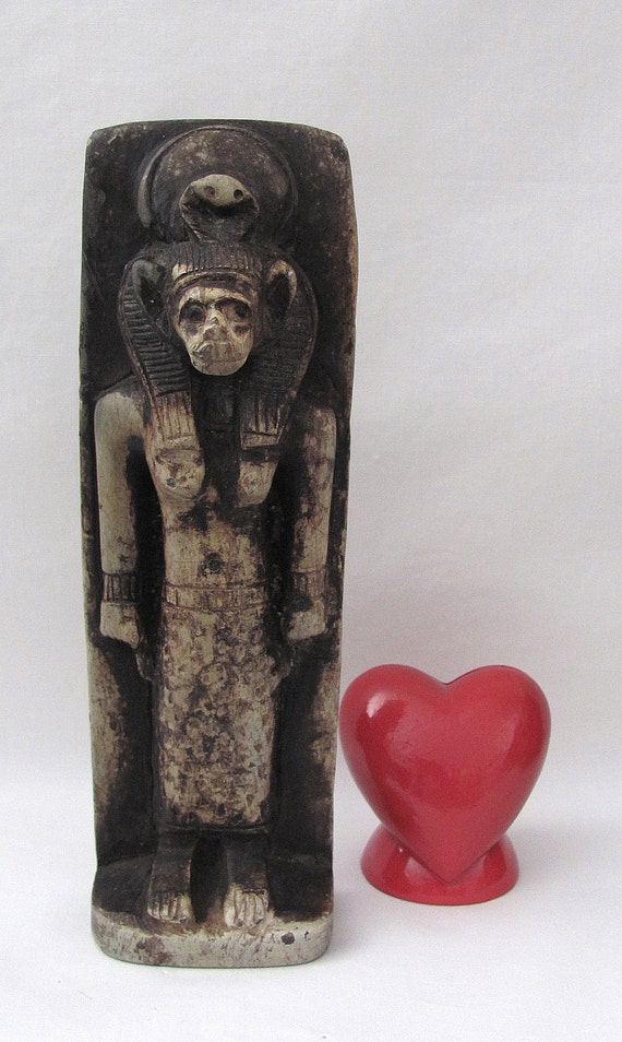 Vintage Egyptian Deity God Statue with Hieroglyphic Symbols - UNIQUE