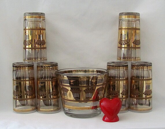 Vintage Culver Ice Bucket and Six High Ball Glass with 22 K Gold Trim - Mad Men Party