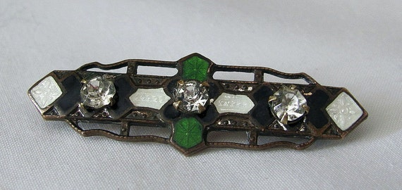 Very Vintage Art Deco Bar Brooch - Guilloche Enamel and Harlequin Pattern - C Clasp - WOW