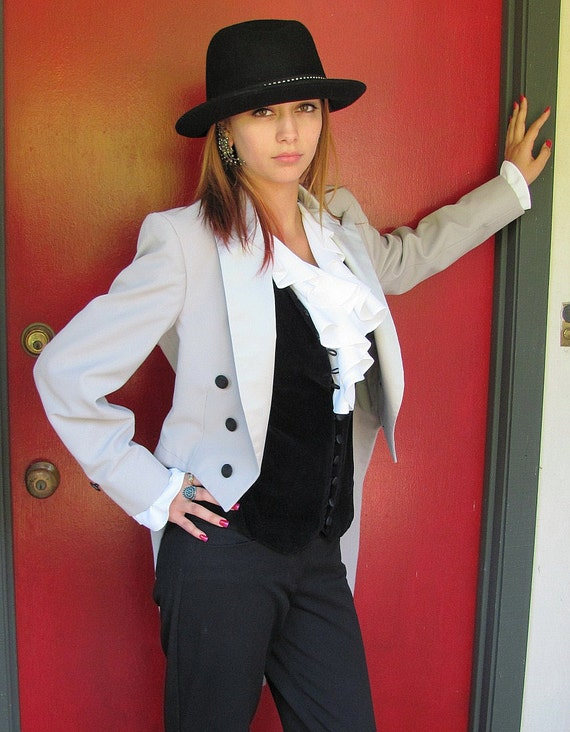Vintage Lord West Gray Tuxedo Jacket WITH Tails - Satin Lapel - See All Pics - Formal Street Attire
