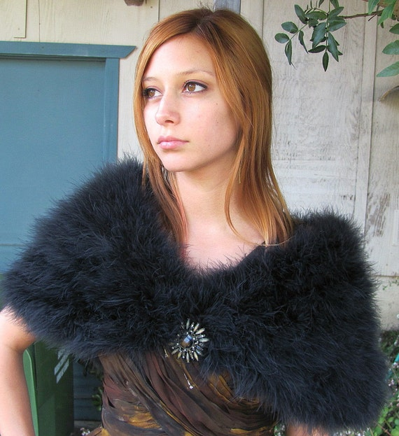 Vintage Black Maribou Feather Capelet with Hook and Eye Closure - Absolutely Stunning - OMG