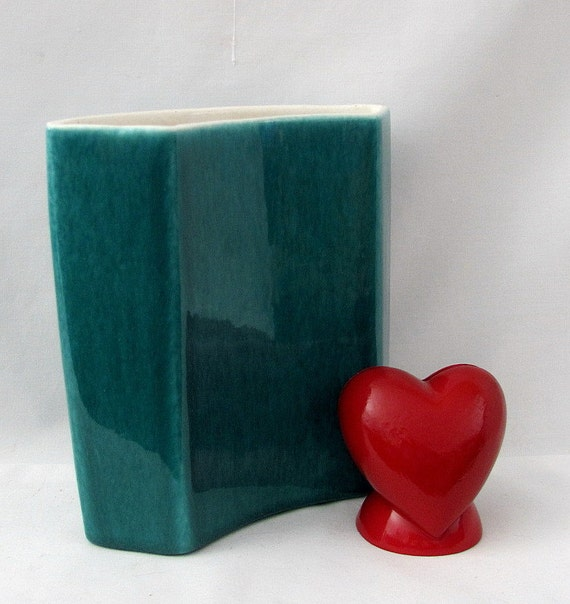 Vintage Aqua Ceramic Four Sided Arched Vase - Really Rightfully Retro