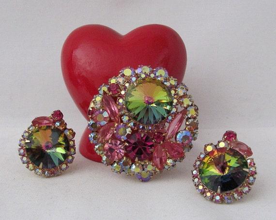 Vintage Demi Parure JULIANA Pink and Green Rivoli Brooch and Earring Set - Stunning - Treasury Item