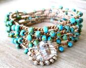 "Boho turquoise wrap ""Baja Blue"" - picasso blue, ocean, aqua, sky, long boho crochet bracelet necklace, beachy surfer girl chic"