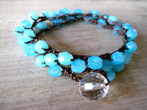 Boho Chic,  'Caribbean Summer,' crochet bracelet, baby blues, island style, spring, summer, beachy