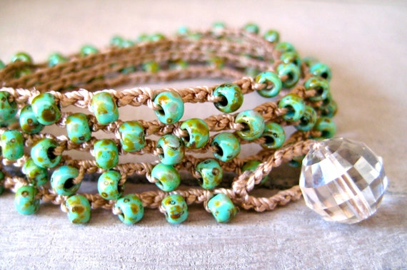 "Bohemian crochet wrap bracelet necklace, ""Island Girl"" - green picasso, earthy, organic, beachy chic, rustic"