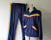vintage hang ten tracksuit with pants and jacket - super rare - dark navy Blue with rainbow stripe - large