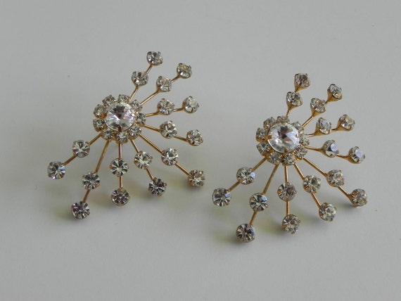 atomic aurora borealis earrings - sputnik design - costume jewelry