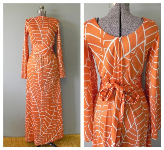stunning 1970s dress a la studio 54 - cole of california - burnt orange and white graphic pattern - small