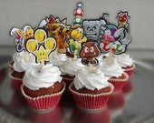 Custom Listing Michelle - New Super Mario Bros Brothers Cupcake Toppers Birthday Party Decorations