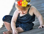 A Sweet Orange & Yellow Danity Flower Headband  with a Tiny Pearl Center