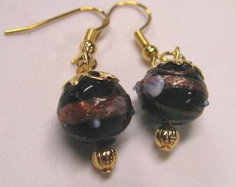 Dark Green Lampwork Glass Bead Pierced Dangle Earrings
