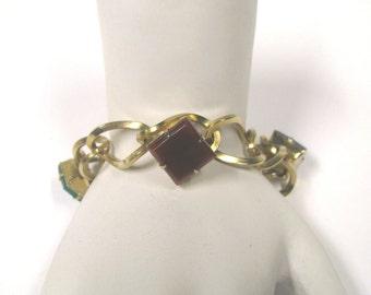Vintage Multi Colored Square Stone Gold Tone 1950s Large Link Bracelet