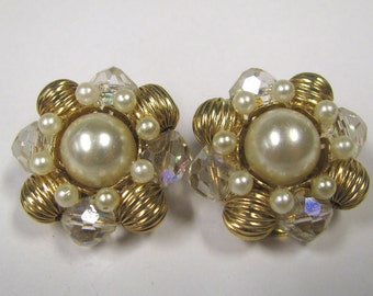 Vintage Beaded Cluster Clip on Earrings, Gold tone metal, Faux Pearl Crystal Ab Beads, Gold tone Melon Beads