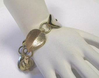 Viintage Signed Emmons Leaf Linked Bracelet, Signed EMJ, Gold tone metal