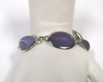 Purple Cabochon Silver tone Linked Bracelet