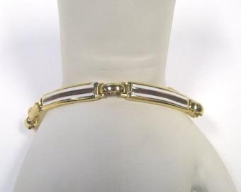 Vintage Enamel Gold tone Linked Bracelet