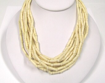 Vintage Multi Strand Celluloid Necklace Silver tone metal