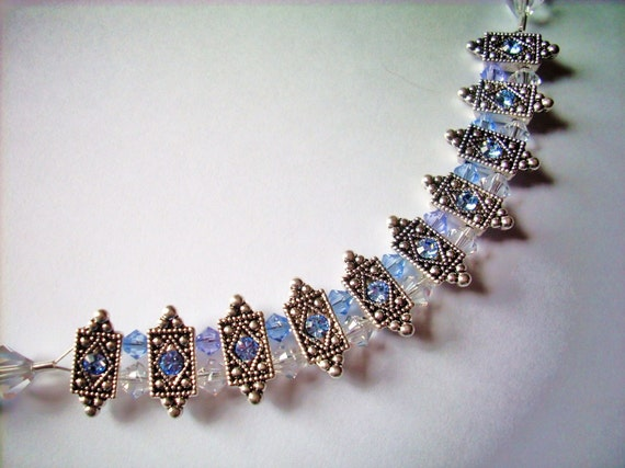 Reverved for Valerie Kruetz Blue and clear crystal and silver wedding bridal brides maid necklace