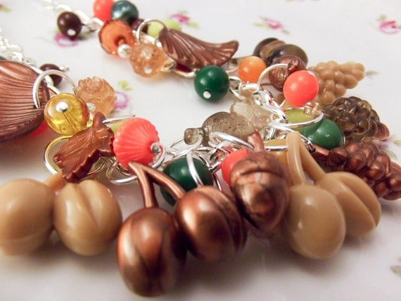 Autumn necklace with plastic fall themed charms acorns nuts vintage beads fun fall charm necklace