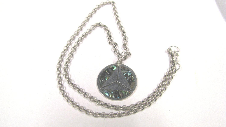 vintage alpaca silver abalone pendant necklace