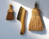 Vintage Whisk brooms, Clothes brushes, lot of three