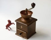 Coffee Grinder, Wood , Iron, copper, Made in West Germany