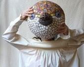 Mosaic Bird Mask Sculpture, Wall Hanging for the Garden