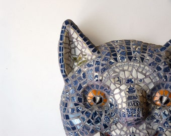 Cheshire Cat Mosaic Mask by Susan Sanford, blue and white mosaic sculpture