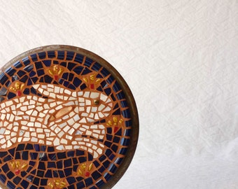 Rabbit Mosaic plaque, round wall piece