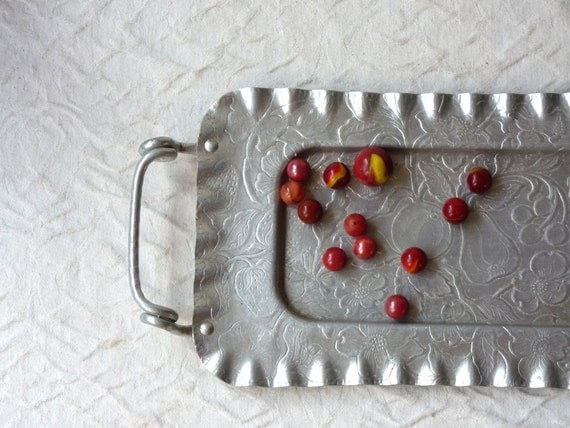 Hammered Aluminum Tray with Handles, floral and fruit design