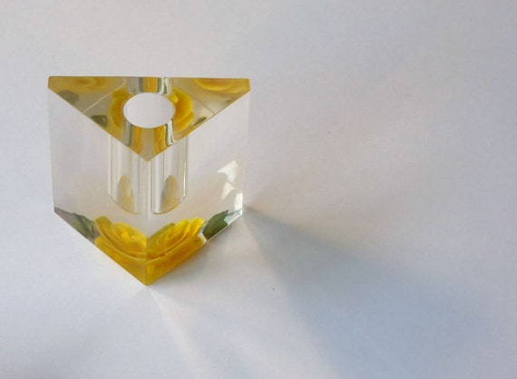 1960s Lucite pyramid, lipstick holder, holographic yellow rose